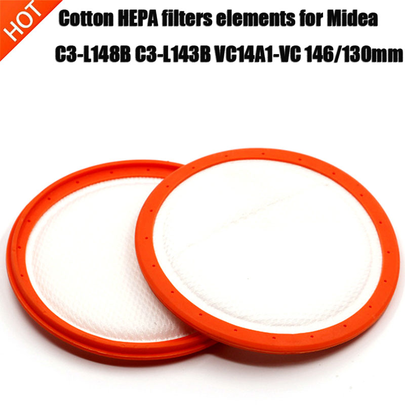 Replacement Washable Vacuum Cleaner Round HV Filter Cotton HEPA Filters Elements For Midea C3-L148B C3-L143B VC14A1-VC 146/130mm