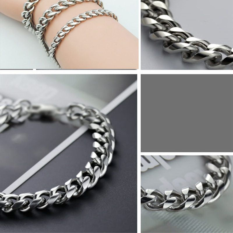 stainless stssl silver bracelets mens cuban Chain on hand hip hop braclet jewelry Steampunk gifts for men accessories wholesale