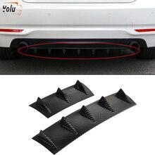 YOLU Universal Car Rear Bumper Lip Diffuser 3/5 Fin Shark Fin Style Car Back Bumper Spoiler Lip Splitter ABS Plastic Top цены