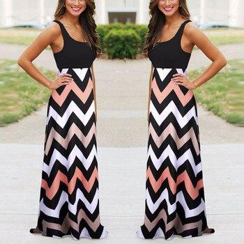 Women Dress Summer Striped Design Long Boho Dress Lady Sleeveless Beach Autumn Sundress Maxi Dress Female Sexy Clothing. 2