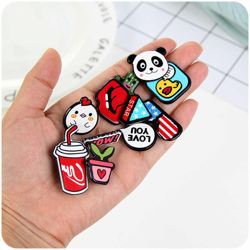 3 ~ 4 sztuk/zestaw Cartoon zwierząt/wyraz akrylowe plakietki ikona na przypinka na plecak broszka odznaki dla dzieci ubrania Anime broszka