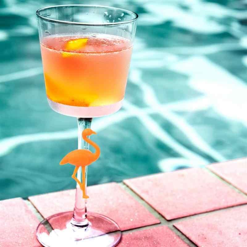 6 piezas marcador de vidrio de vino de silicona diseño creativo flamenco bebida encantos etiqueta marca de vidrio identificación perfecta para fiestas
