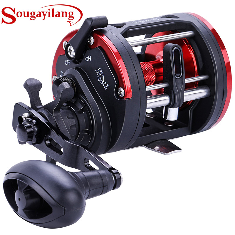 Sougayilang DTR-30 Trolling Drum Fishing Reels 3+1BB Left/Right Hand Saltwater Trolling Drum Fishing Reel Max Drag 28kg Pesca