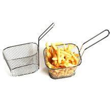 Мини Корзина для жарки из нержавеющей стали квадратный блок для картофеля фри чипсы сетчатый кухонный инструмент SUB