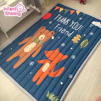 Infant Shining Mats Folding Baby Play Mats 140X195CM Cotton Carpet Children Game Blanket Non-slip Machine Washable Rugs