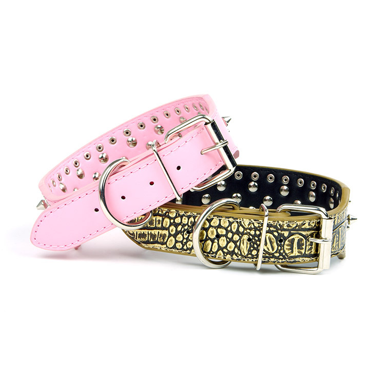 Brand Sale Pet Supplies Dog Neck Ring Nail Hot Drilling Big Dog Genuine Leather Dog Neck Ring