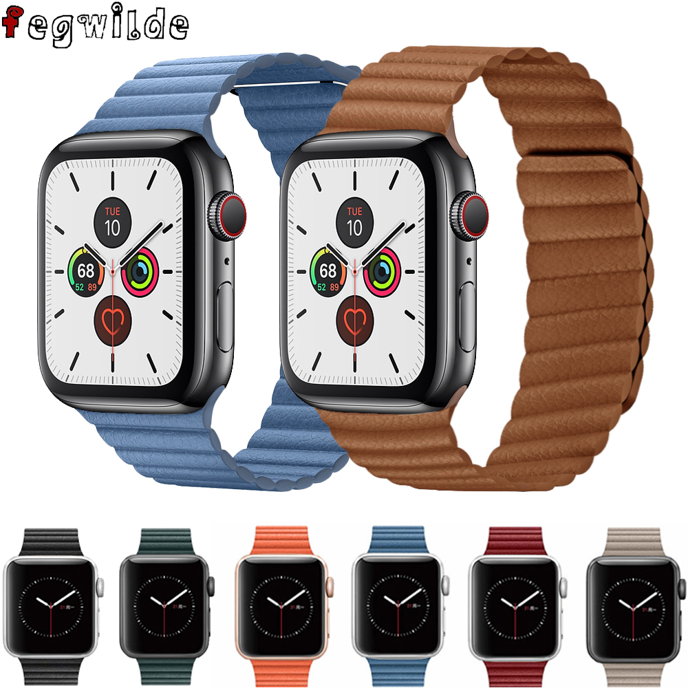 Genuine Leather Loop Strap For Apple Watch Band 44 Mm 40mm 42mm 38mm Leather Magnetic Loop Bracelet Iwatch 5 4 3 2 Accessories