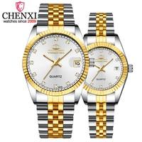 1 шт., роскошные Брендовые женские кварцевые часы CHENXI из серебристого золота, мужские часы, подарок для влюбленных, наручные часы для женщин ...