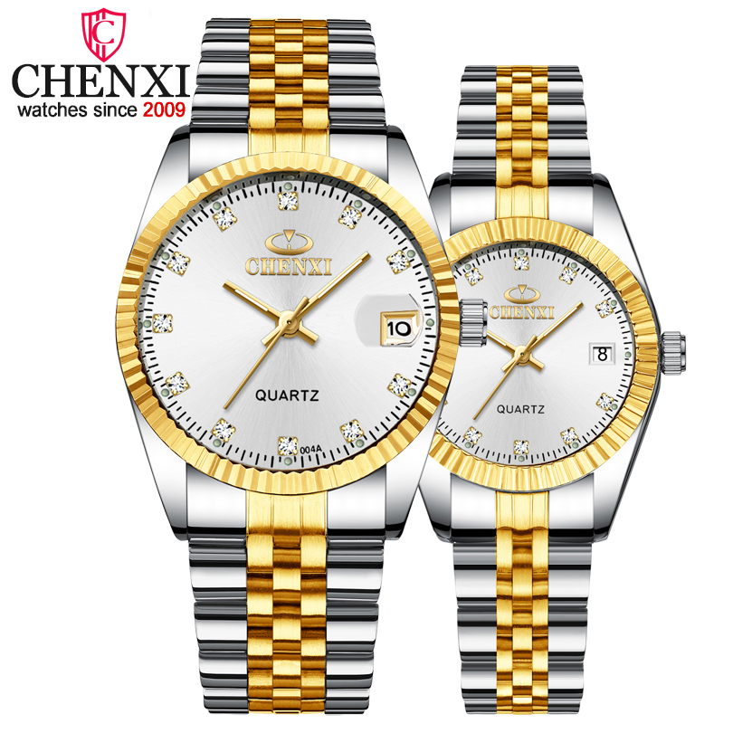 1PCS Luxury Brand CHENXI Silver Gold Watches For Women Quartz Watches Men Clock Watch Lover's Gift Wristwatches Lady & Man Watch