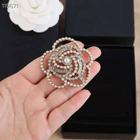 Camellia Luxury Brand jewlery style flowers Lapel Pins pearls Brooches flower Broche Broach Jewelry for Women