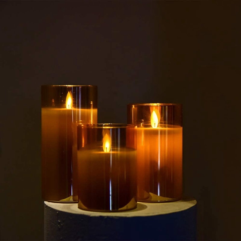Amber Glass LED Flameless Candles Flickering with Remote,Battery Operated,For Wedding,Festival Decorations,Gift,3 Pack