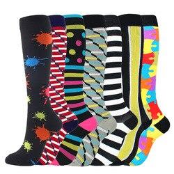 7 Pairs Men Women's Compression Socks Long Stockings Breathable Sport Socks Running Cycling Soccer Basketball Sokcs Colorful