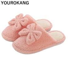 цены Women Winter Home Slippers Non-slip Warm Indoors Bedroom Floor Shoes Bowknot Plush Slippers Female Faux Fur Slides Flip Flops