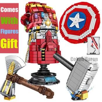 цена на New Thanos Infinity Gauntlet Mjolnir Marvel Stormbreaker Fit Lepinings Avengers Weapon Building Blocks Bricks Kids Toys Gift