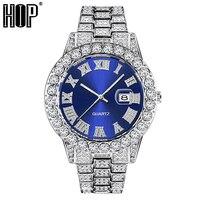 Hiphop Voll Iced Out Herren Uhren Moderne Diamant Quarz Handgelenk Uhren Mit Micropaved Cubic Zirkon Uhr Für Frauen Männer schmuck