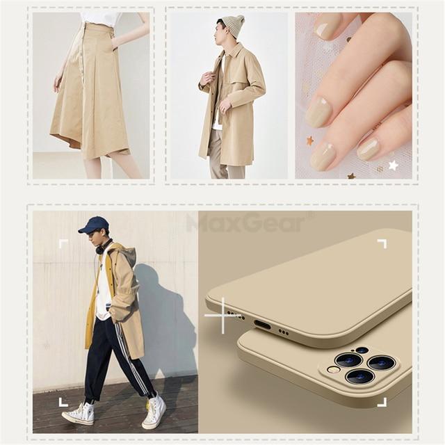 Luxury Original Square Liquid Silicone Case For iPhone 12 11 Pro Max Mini X XR XS Max 7 8 6s Plus SE 2020 Shockproof Soft Cover 2