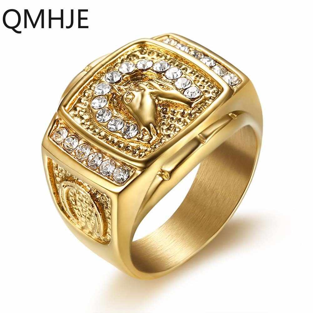 สัตว์ม้าไทเทเนียม Cz แหวนผู้ชาย Signet Punk Rock Hip Hop Gold สีเงินงานแต่งงานเครื่องประดับ Biker QMHJE DAR289