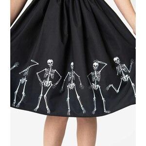 Image 5 - هالوين المرأة عالية الخصر 3D طباعة مطوي تنورة عارضة خمر السيدات سوينغ ميدي التنانير الجمجمة بارد فام تنورة زائد حجم