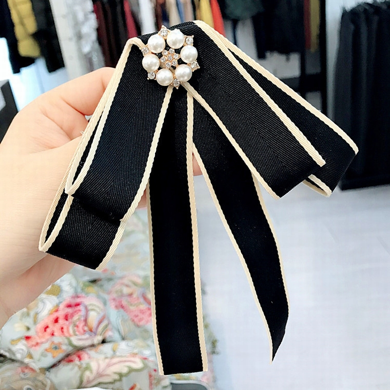 Korean Simple Ribbon Stripe Rhinestone Exaggeration Big Brooch Bow Tie For Women Fashion Suit Clothes Shirt Collar Accessories
