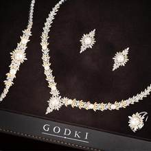 GODKI 4PCS Trendy Charms Imitation Pearls Cubic Zircon Jewelry Sets For Women Dubai Bridal Wedding Luxury Statement Jewelry Sets(China)