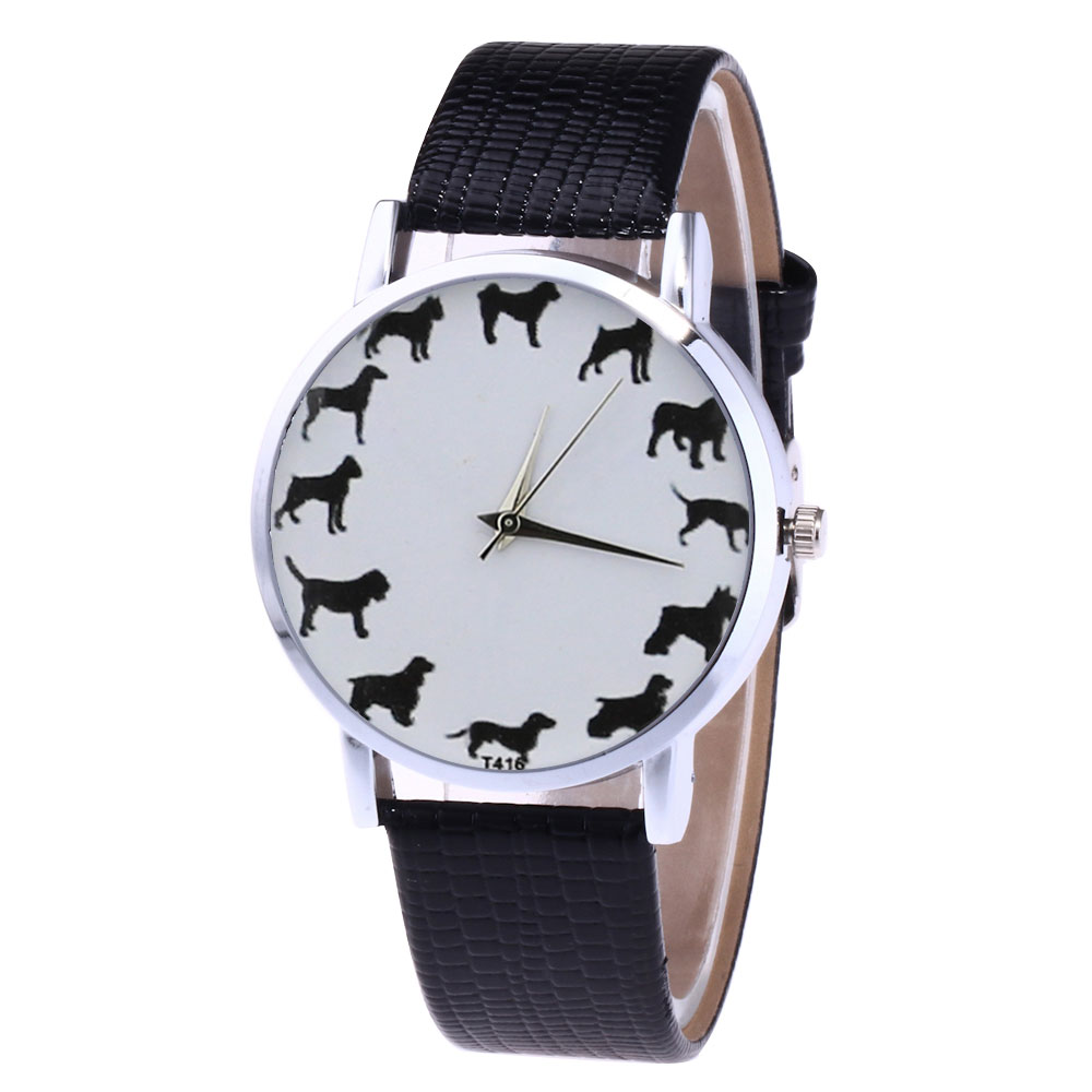 Cartoon Animal Printed Quartz Watch Women Faux Leather Strap Round Dial Watch Couple Watches  LL@17