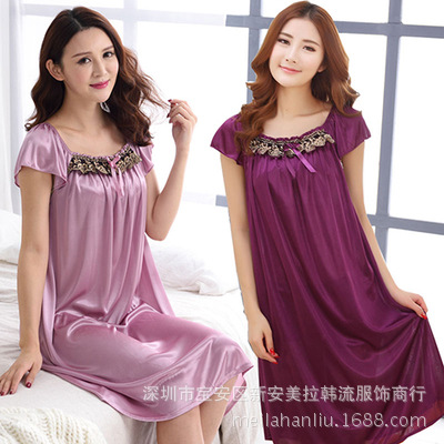 Fat Mm Viscose Nightgown Women's Special Plus-sized Plus-sized Summer Middle-aged Mom Loose Nightgown 200 Summer Women's