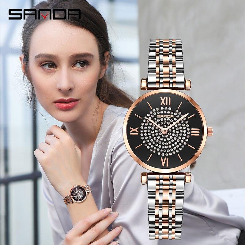 Nieuwe vrouwen  aristocratische wind Legering shell rose gouden horlogeband dame Horloge elegantie quartz armband watch P1012