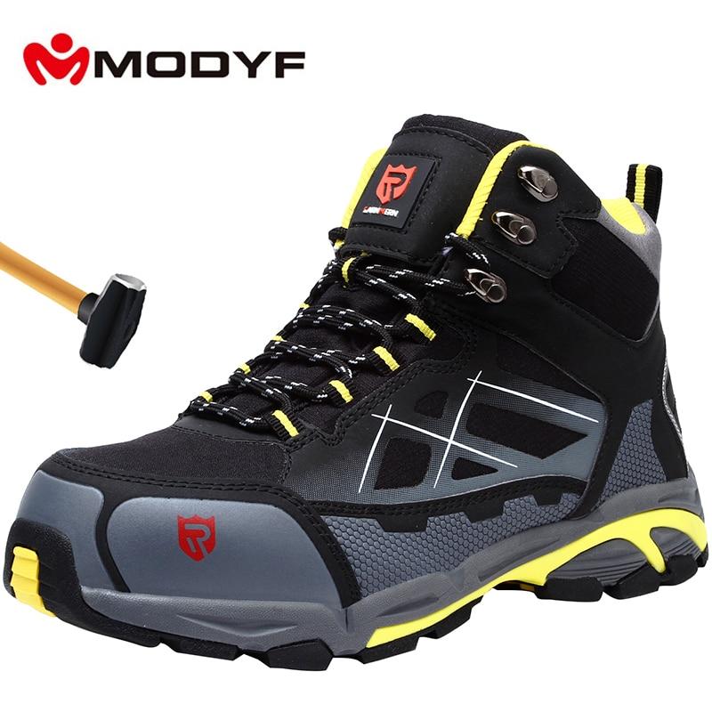 MODYF Mens פלדת הבוהן עבודה בטיחות נעליים קל משקל לנשימה נגד לנפץ אנטי לנקב אנטי סטטי מגן מגפיים
