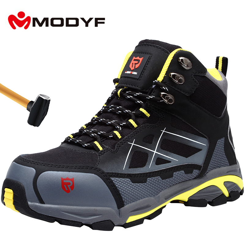 MODYF Mens Steel Toe Work Safety Shoes Lightweight Breathable Anti-smashing Anti-puncture Anti-static Protective Boots