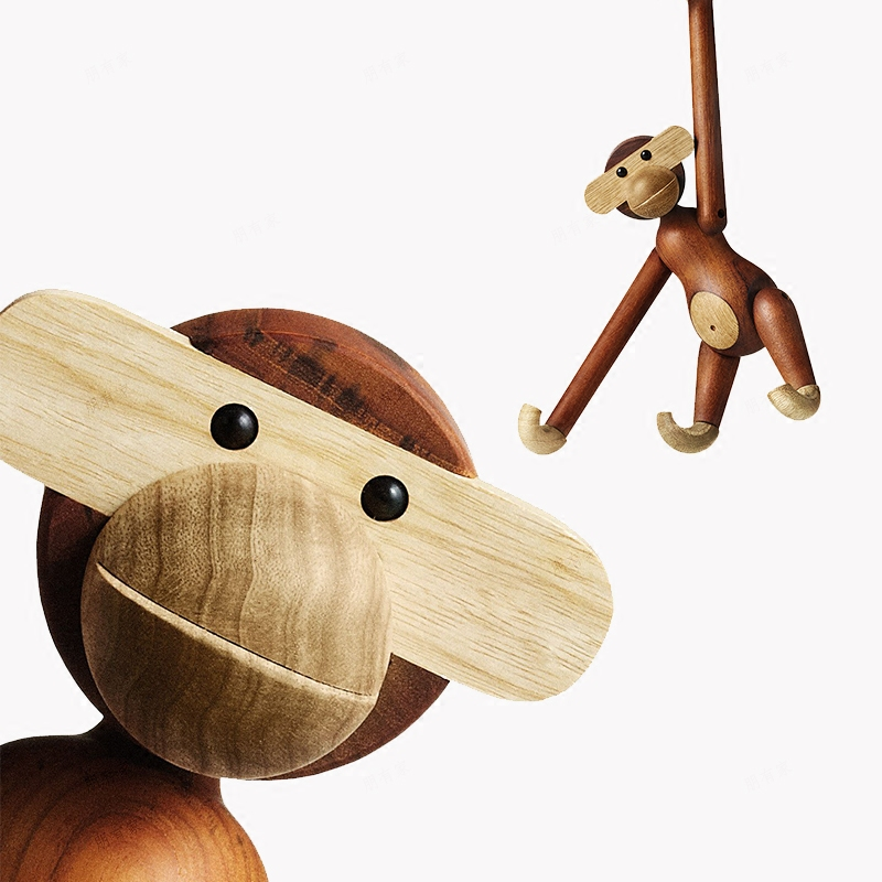 Wooden Animal Figurines Home Decoration Accessories Modern Desk Decoration Monkey Ornaments TV Cabinet Furnishings Birthday Gift