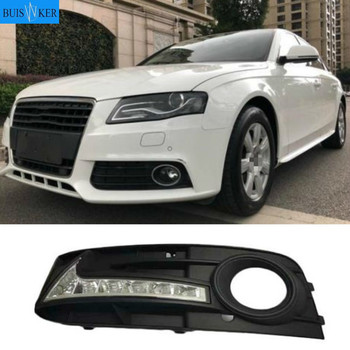 2Pcs For Audi A4 A4L B8 2009 2010 2011 2012 LED DRL Daytime driving Running Lights Daylight Fog Lamp cover hole free shipping