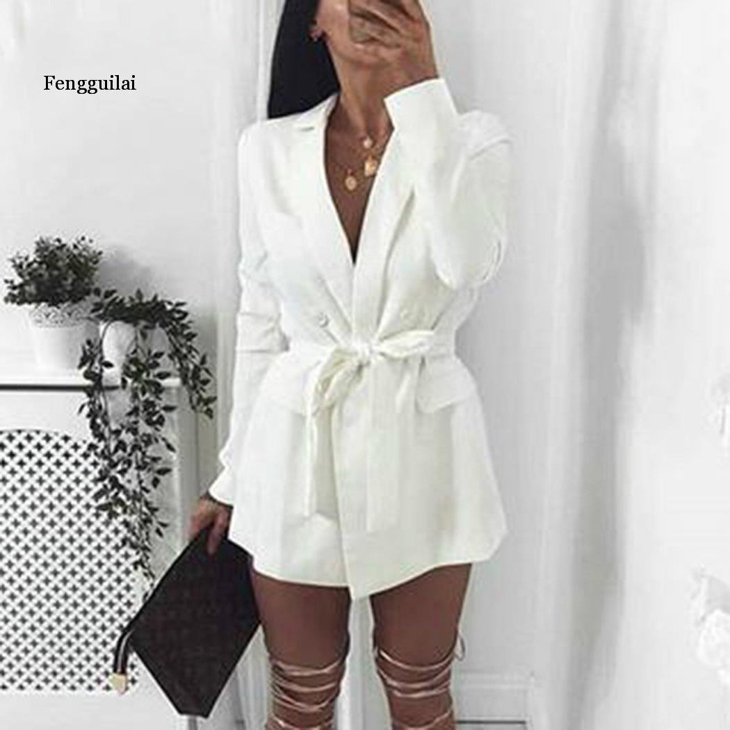 Women Fashion Turn Down Collar Long Spring, Autumn, Winter Causal Sleeve Solid With Waistbelt Blazer