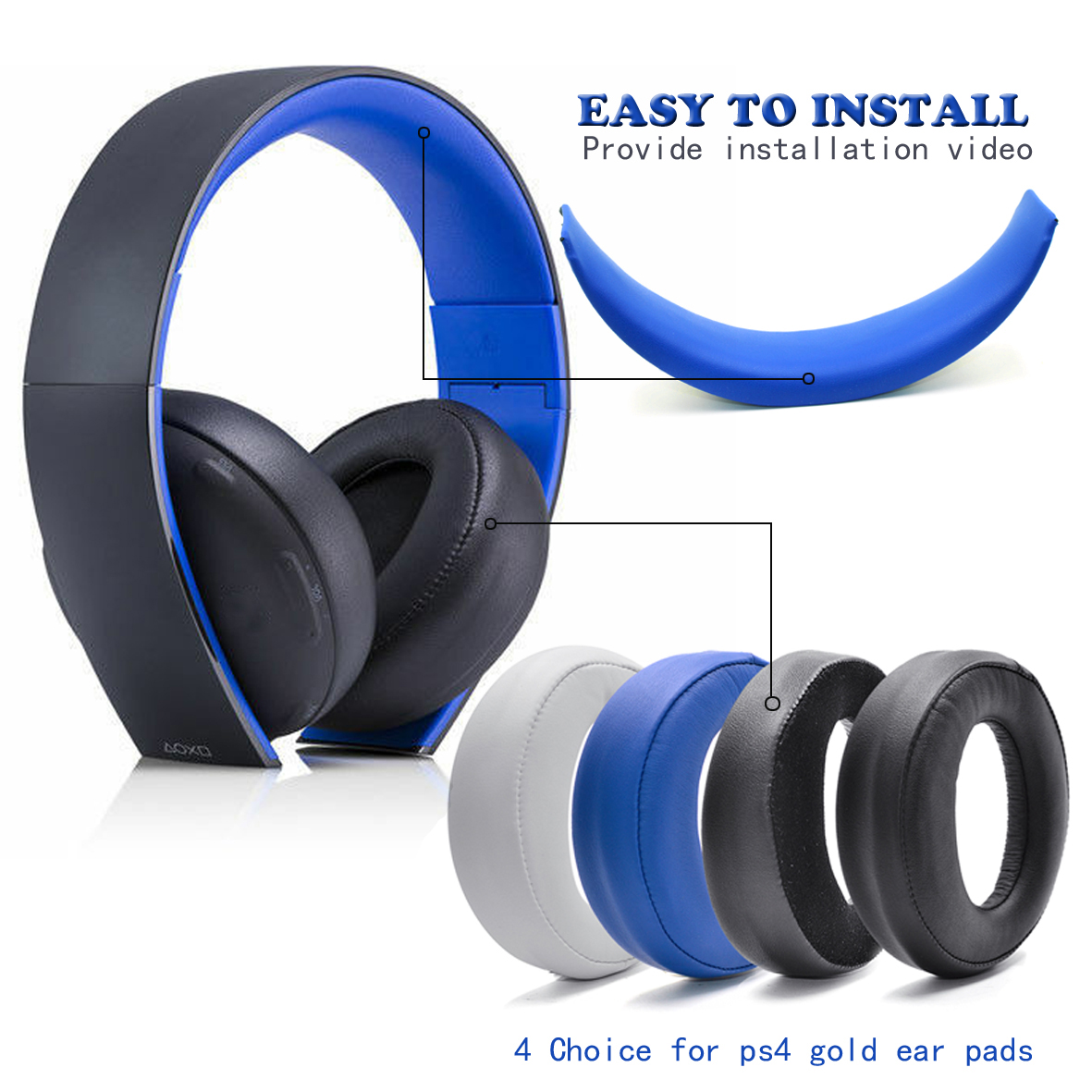 Wireless Headset Earpads For Sony Gold Wireless Headphone PS3 PS4 7.1 Phone Stereo Headfone Big Earmuff Audio Headset Earphone