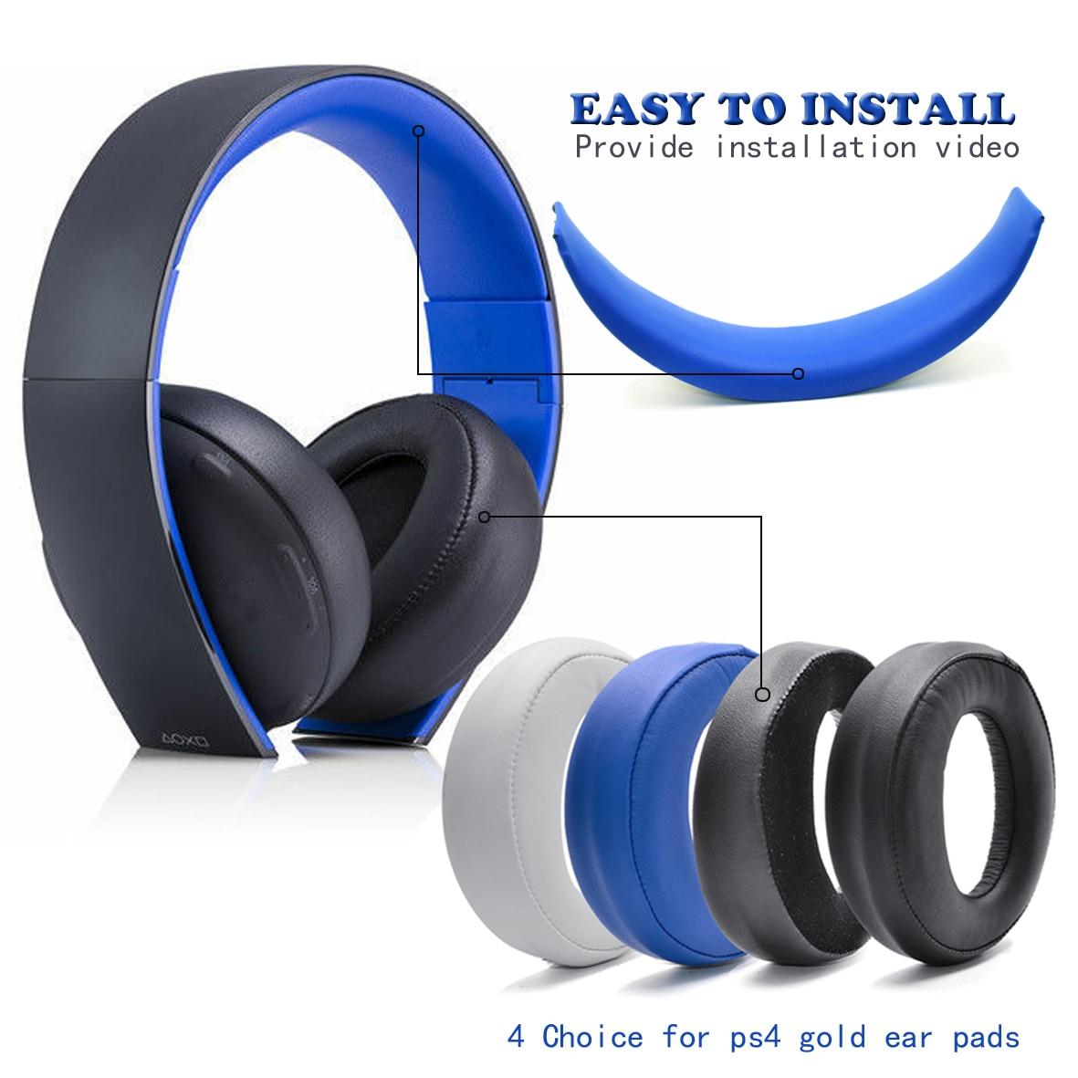 Wireless Headset Earpads For Sony Gold Wireless Headphone PS3 PS4 7.1 Phone Stereo Headfone Big Earmuff Audio Headset Earphone