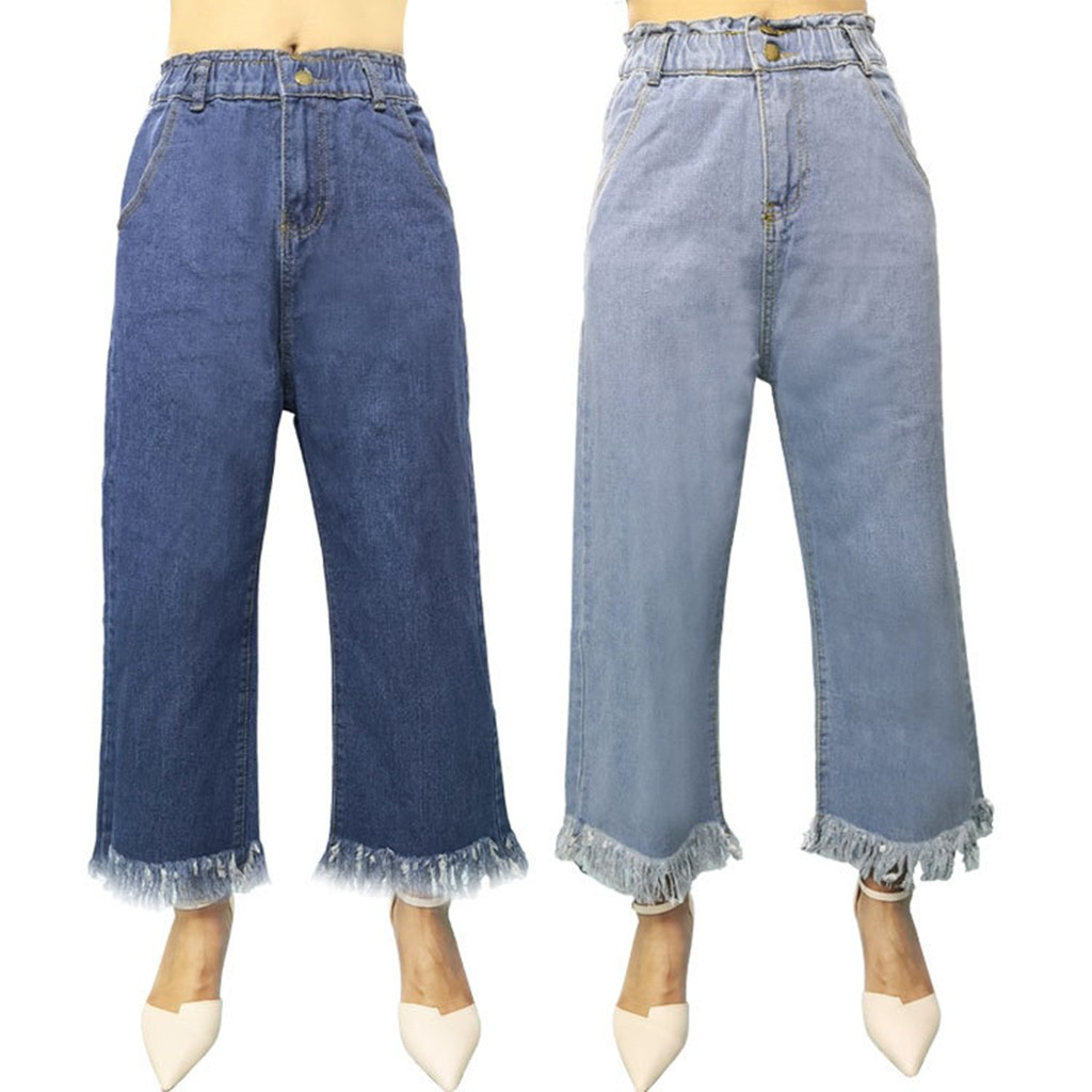 Women Denim High Waist Jeans Wide Tessel Leg Pants Vintage Baggy Pants Casual Loose Full Length Pants Palazzo Retro Trousers