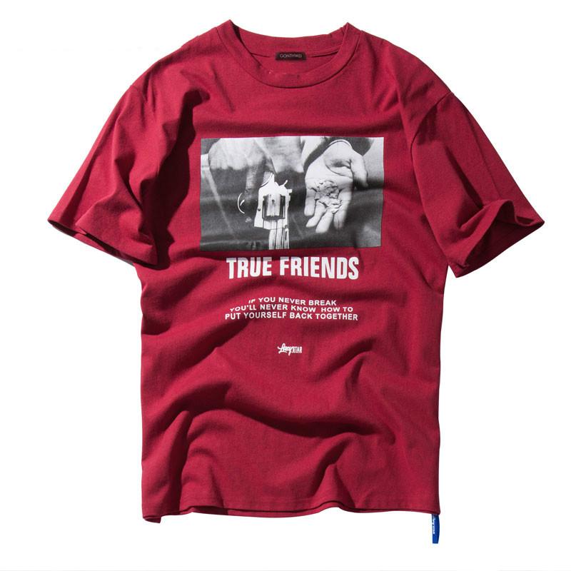 IMANFIVE Hip Hop Hands Printed Short Sleeve T Shirts 2019 New Spring Summer Casual Cotton Tops Tees Mens Streetwear Tshirts