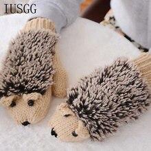 Cute Hedgehog Gloves Thicken Winter Hand Warmer Knitted Wrist Mittens Wool Fingerless Cartoon Lovely Hands Warm Acce