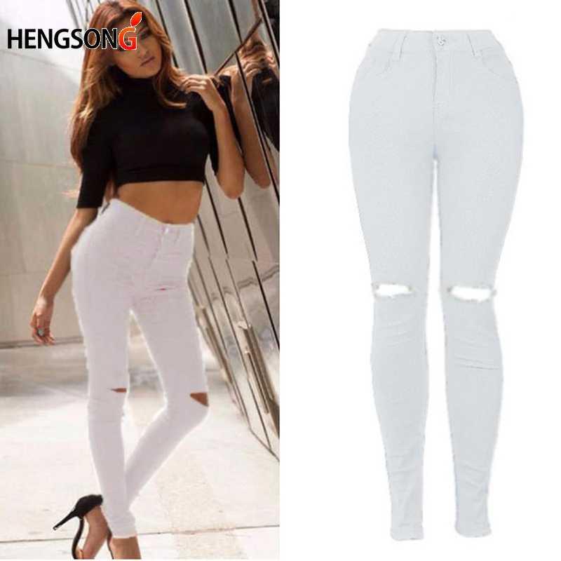 Новинка, белые рваные джинсы, женские крутые джинсы с высокой талией, эластичные штаны-капри, женские обтягивающие черные повседневные джинсы-карандаши HO833795