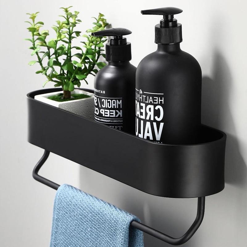 Black Bathroom Shelf With Bar 30\40\50cm Wall Mounted Shower Shelves Holder Kitchen Storage Rack Towel Bar Bath Accessories