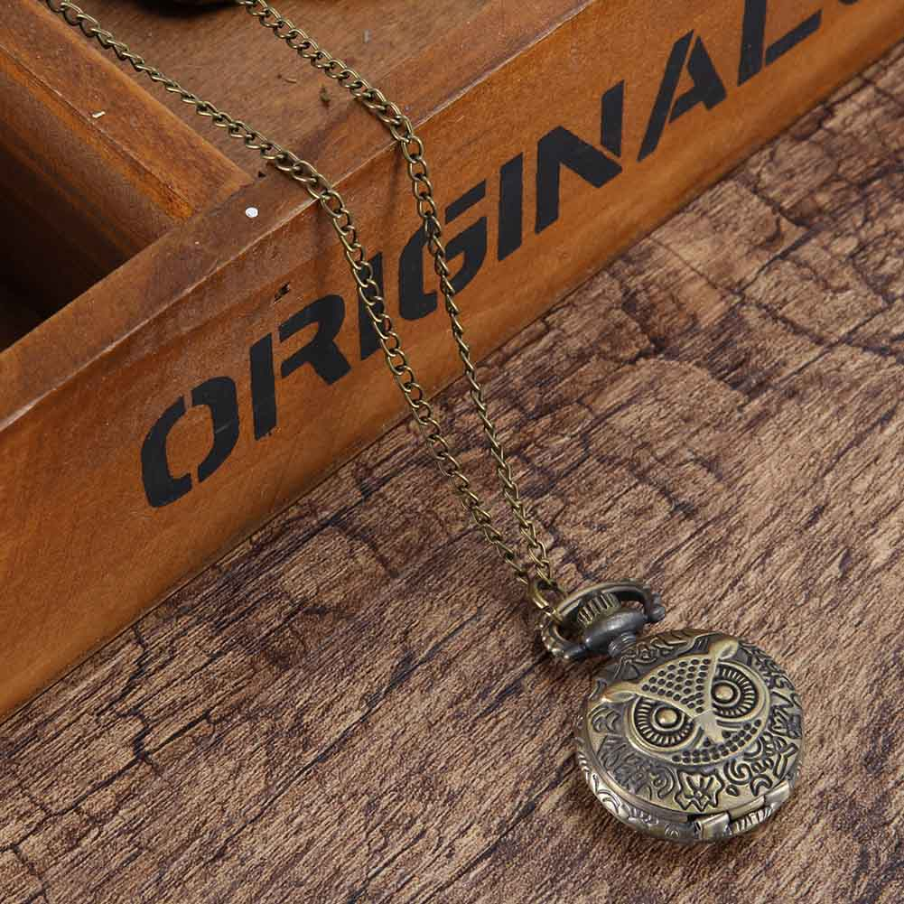 Vintage Pocket Watch Bronze Color Quartz Watch Cool Chain Owl Pattern Watches S55