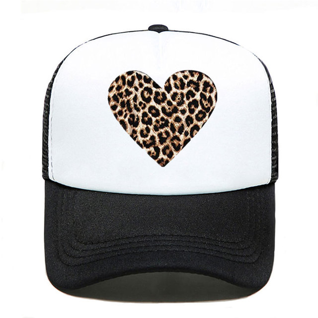 Black trucker hat with leopard print heart