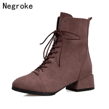NEW Women Martin Boots Autumn Fashion Lace-up Snow Ankle Boots Winter Suede Warm Block Heel Women Shoes Zapatos Mujer 2019 все цены