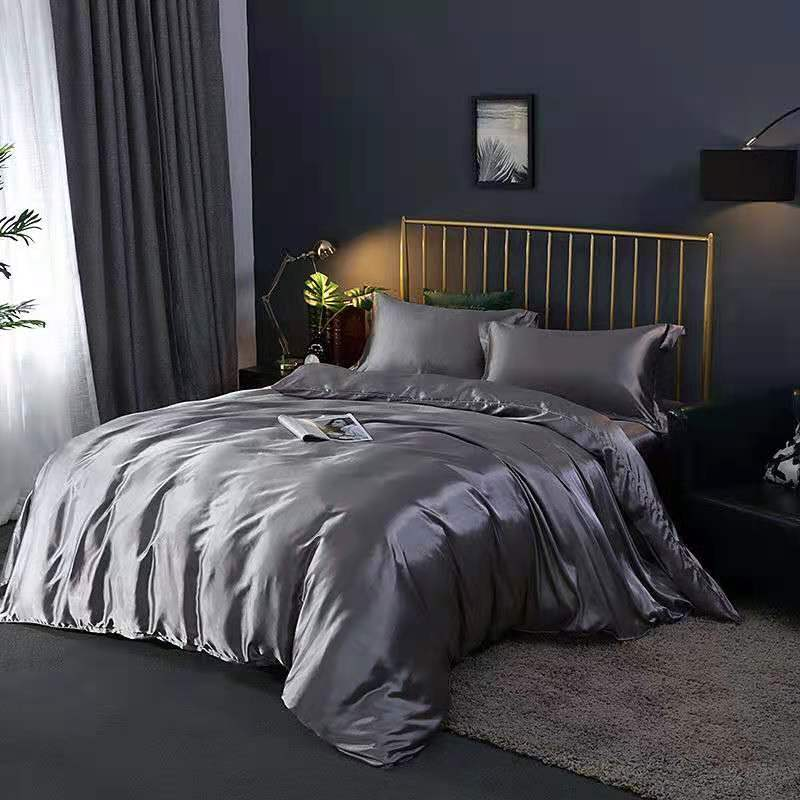 Imitation Silk Quilt Cover Pure Color Luxury Bedding Ice Silk Quilt Cover Twin Queen King Duvet Cover