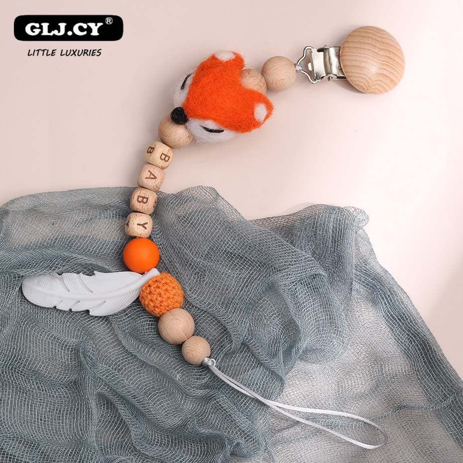 Baby Pacifier Clips Fox Cartoon Wood Nipple Holder Personalized Alphabet Beads Baby Teething Chain Gifts For Boys And Girls