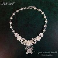 Butterfly Flower 999 Sterling Silver Pendant Necklace Women Big Chain Handmade Luxury Jewelry Boho Wedding Ethnic Jewellery