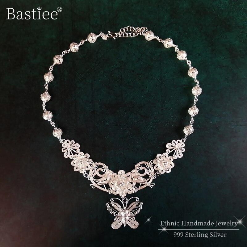 Papillon fleur 999 pendentif en argent Sterling collier femmes grande chaîne à la main bijoux de luxe Boho mariage bijoux ethniques