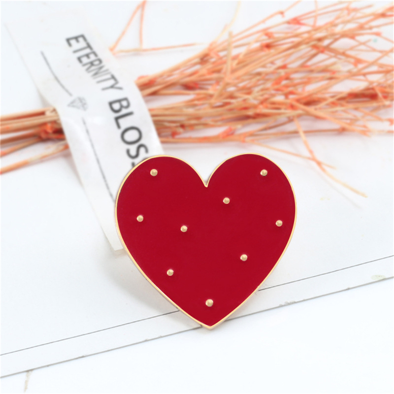 1pc Cartoon Red Big Small Heart Enamel Pins Cute Women Brooch Denim Jackets Lapel Pin Decoration Badge Fashion Jewelry Gift in Brooches from Jewelry Accessories