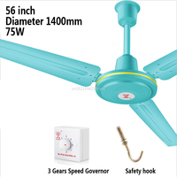 56inch Iron 56mm Vane Third Gear Ceiling Air Cooling Fan Living Dining Room Ceiling Fan Large Wind 1.4m