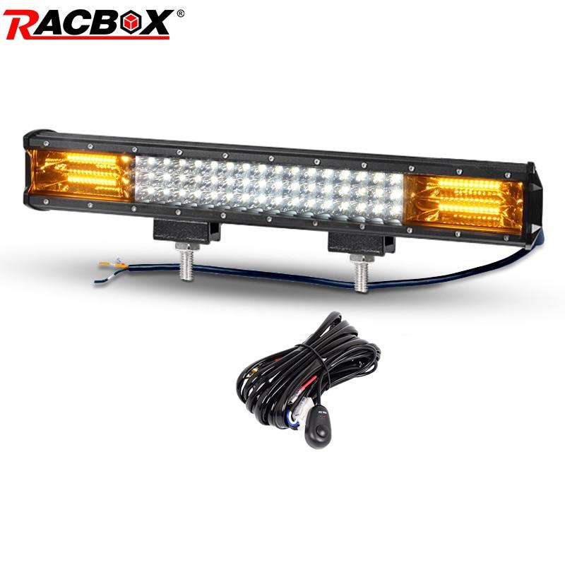 RACBOX 20 Inch Triple Row Dual Color Straight Led Work Light Bar White Amber Combo Beam For Jeep LADA Offraod SUV ATV UTV Car