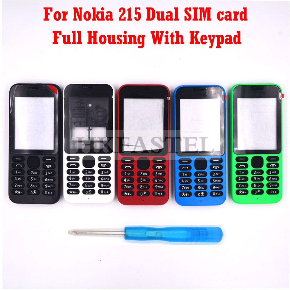 HKFASTEL High Quality Housing Keyboard For Nokia 215 Dual SIM New Full All Complete Mobile Phone Cover Case With Keypad
